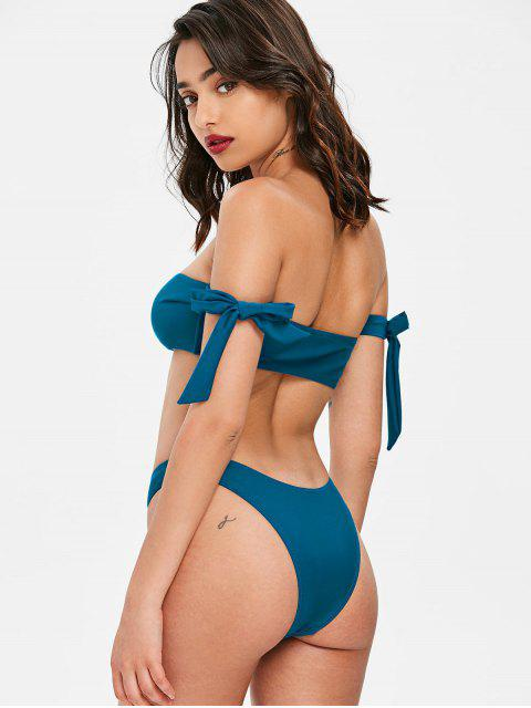 women's Off Shoulder Tied Sleeve Bikini - GLACIAL BLUE ICE S Mobile