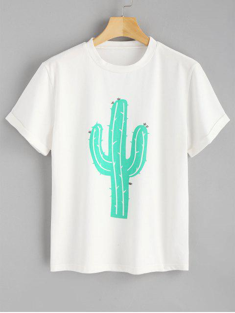 Gerolltes Ärmel Kaktus T-Shirt - Weiß L Mobile