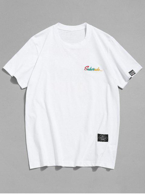 Bestickter Muster T-Shirt - Weiß 2XL Mobile