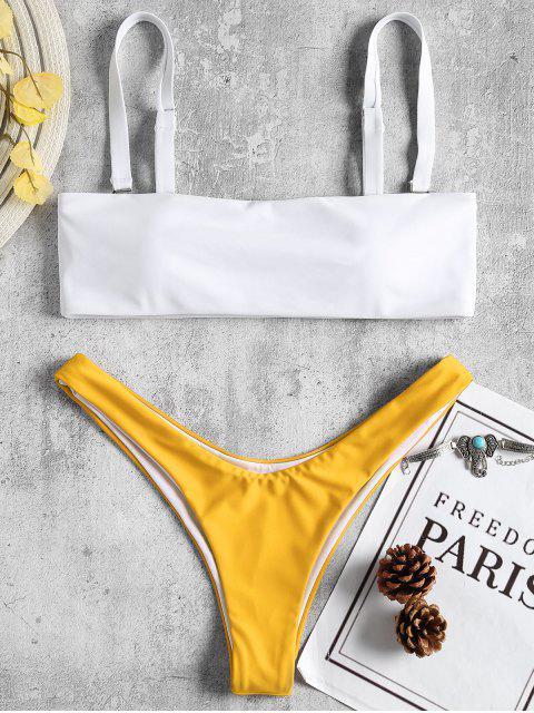 outfits Two Tone Thong Bikini - GOLDEN BROWN S Mobile
