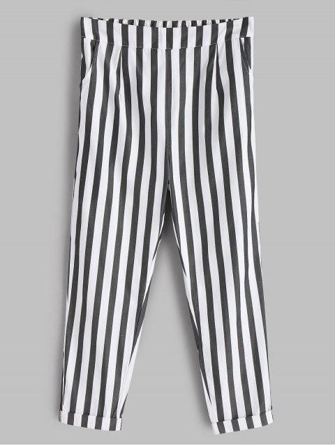 lady Striped Cuffed Pants - WHITE L Mobile