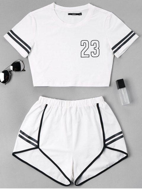 sale Contrast Binding Notch Shorts Two Piece Set - WHITE L Mobile