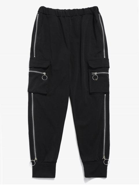 women Side Pocket Zippers Jogger Pants - BLACK S Mobile