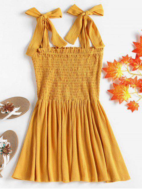 hot Bowknot Straps Smocked Blouse - MUSTARD L Mobile