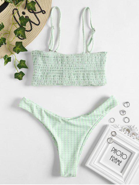online Smocked Grid Bikini Set - MINT GREEN L Mobile