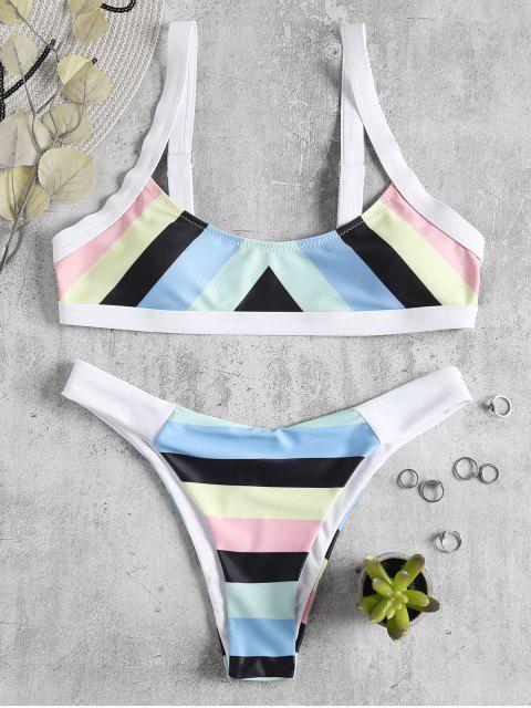 Bikini rayé à rayures arc-en-ciel - Multi L Mobile