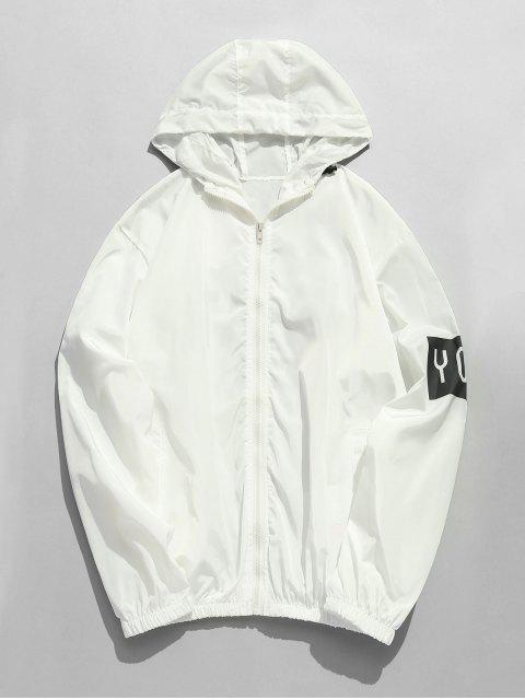 new Hooded Zip Print Windbreaker Jacket - WHITE L Mobile