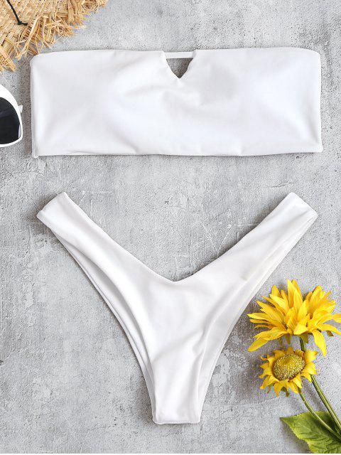 Bikini en Ensemble en Bandeau avec Découpe en V - Blanc M Mobile