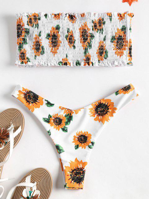 best Strapless Sunflower Smocked Bikini - MULTI M Mobile