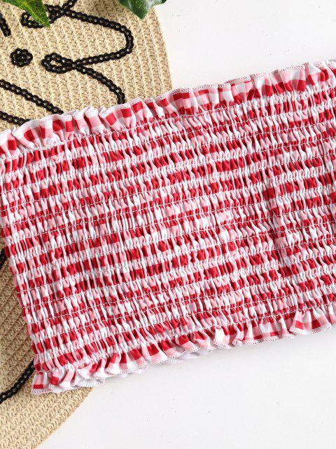 latest Plaid Smocked Bandeau Bikini - RED S Mobile