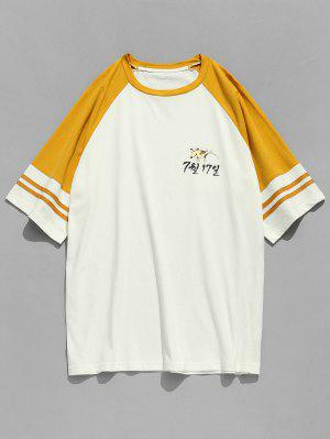 Raglan Sleeve Patterned Baseball Tee