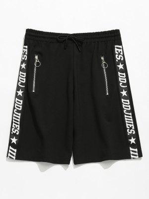Letter Print Zip Grommets Shorts