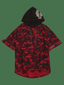 M Estampada Camo Asim Capucha 233;trica Rojo Con Camiseta 0fqwPw