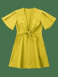 Delantero M Nudo Amarillo Vestido Mini De wPqCSg