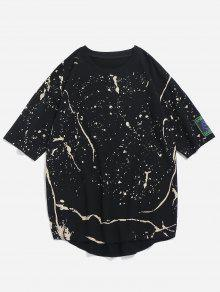 2xl Lateral Dobladillo Con Camiseta Hendidura Estampada Negro Rematar En Sin zR4RvxBw