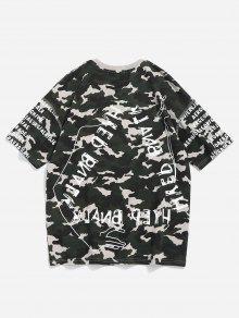 Camuflaje Camo Con Camiseta Xl Letras Verde De Estampado De xAH0HPq