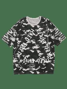 Verde Camuflaje Camo Camiseta Con De Xl Estampado Letras De ZxYxp0q