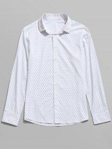 قميص بأكمام طويلة مزين بطبعة - أبيض M