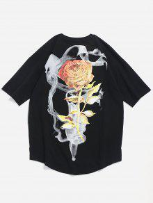 Xl Tee Negro Slit Flower Pattern Rose nw7Xzz