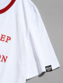 2xl Estampado De Letras De De Camiseta Contraste Con Ajuste Blanco wZz6vBgq