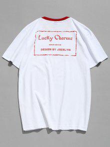 Letras Blanco Ajuste Estampado Con De De Contraste Camiseta 2xl De T80f4wqnn