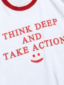 Con Letras Contraste Blanco Ajuste De De 2xl De Estampado Camiseta qwBO7aCx