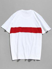 Blanco De 2xl Manga Corta Bordada Camiseta a5BnfqaIR