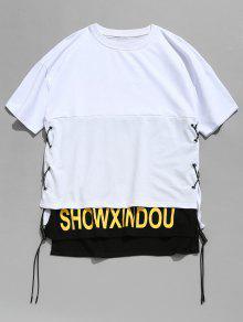 Con Cordones Camiseta Dise Con Blanco 2xl Hendidura De o 7PWvvc6A