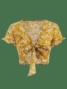 Blusa Oro M Floral Anaranjado Estampado Lazo Con UqwOUR7