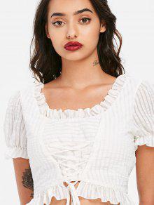 Cordones L Blusa Blanco Con Corta xI88P0E