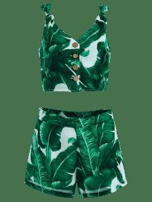 Hojas Con Cortos Estampado L Verde Pantalones De fqZ66