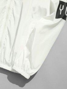 Chaqueta Y 2xl Blanco Capucha Estampado Flores De Con Cortavientos r1qwtr