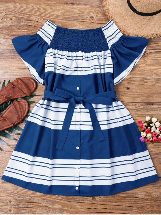 outfits Striped Shirred Off Shoulder Dress - DEEP BLUE L