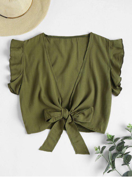 lady Tie Knot Ruffle Sleeve Crop Top - HAZEL GREEN L