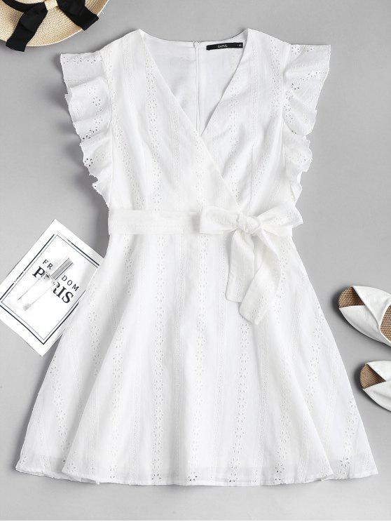 Rüschen Broderie Anglaise Partykleid - Weiß M