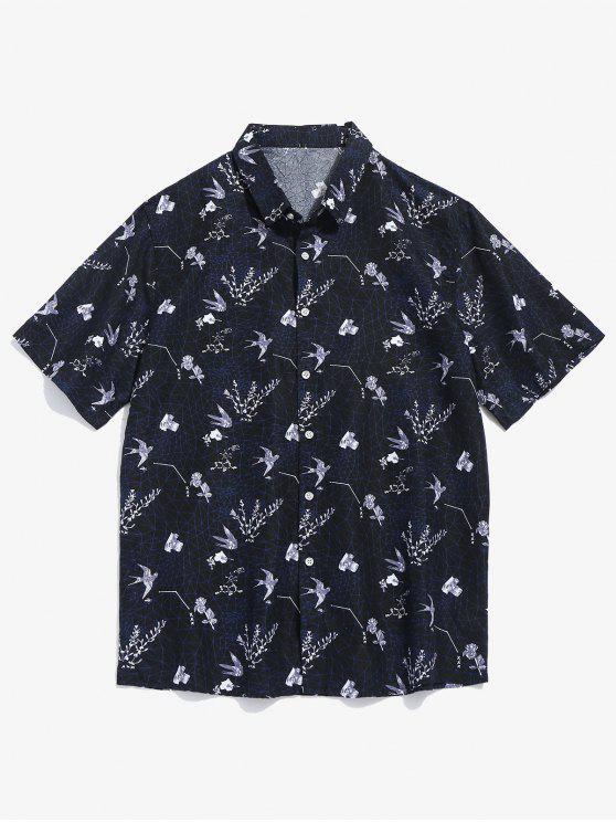زهرة نمط قميص قصير الأكمام - أسود L