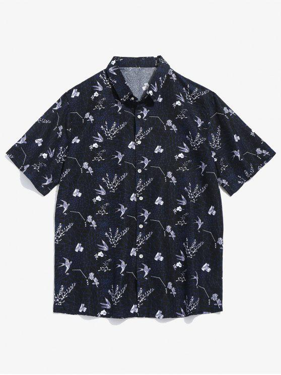 زهرة نمط قميص قصير الأكمام - أسود XL