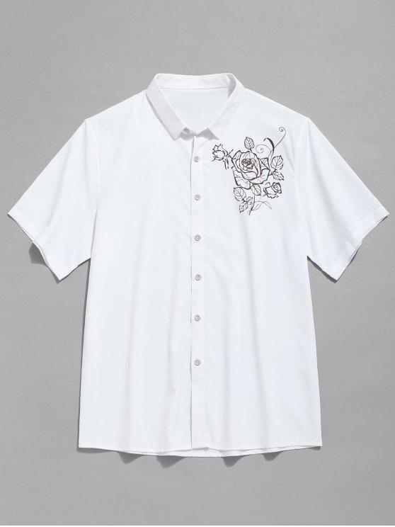 كم قصير طباعة زهرة قميص - أبيض XL