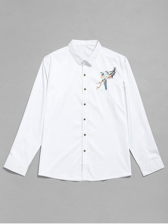 زر التطريز الطيور حتى القميص - أبيض M