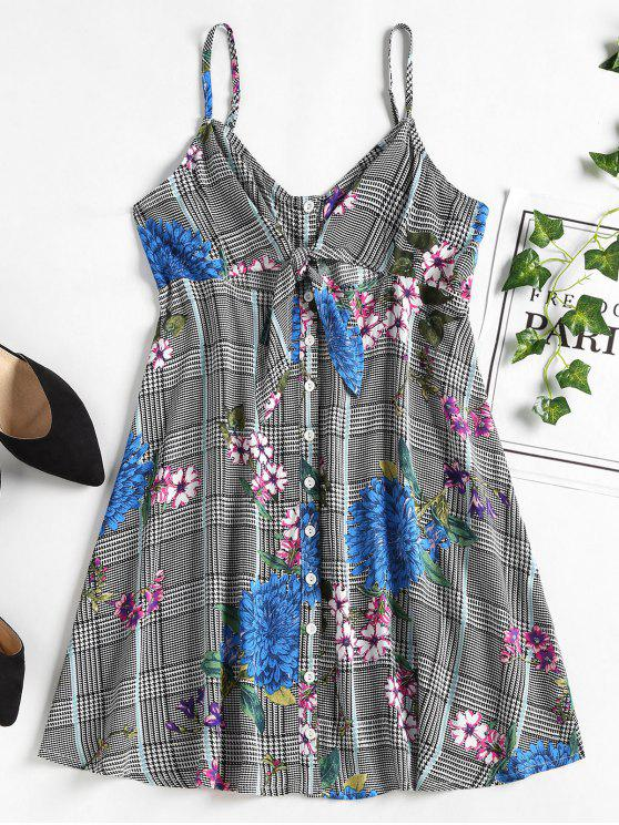 ladies Button Front Floral Mini Party Dress - BLACK S