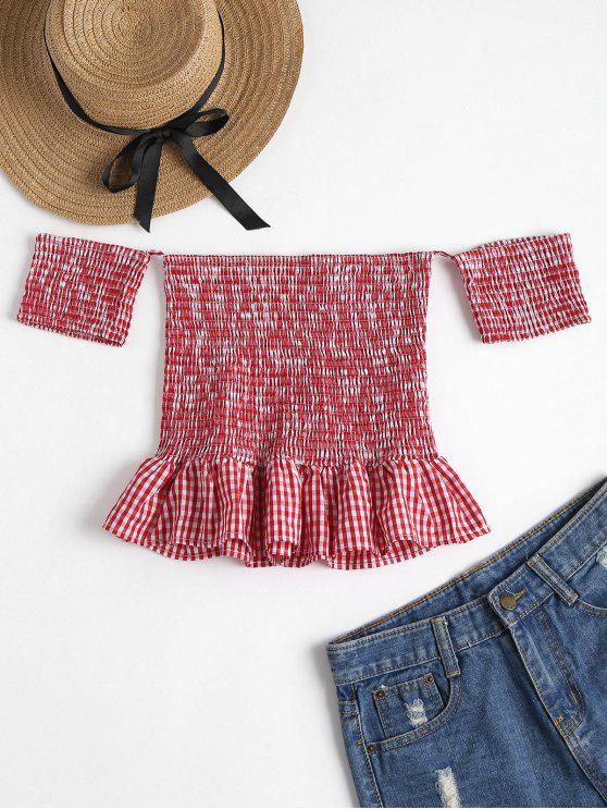 Gingham Smocked Schulterfreies Top - Rot XL