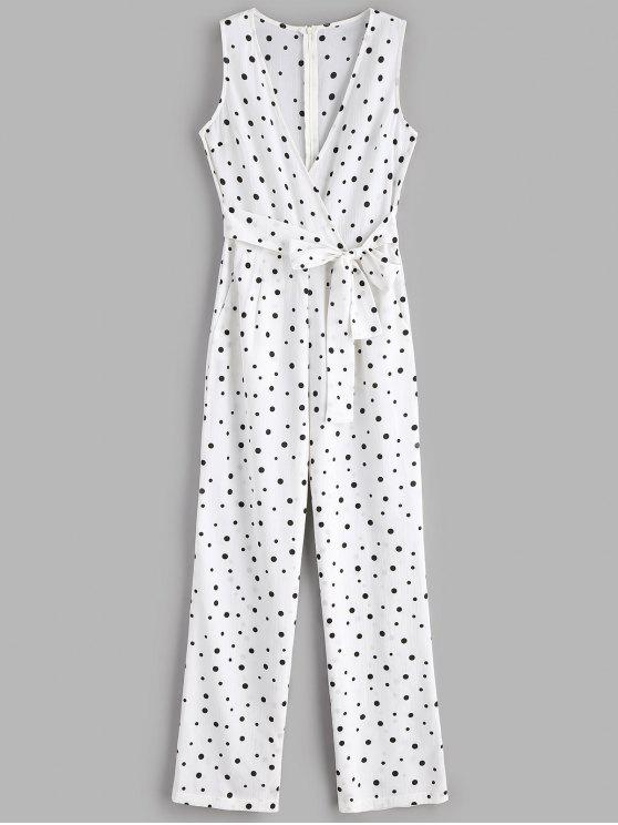 womens Polka Dot Wide Leg Palazzo Jumpsuit - WHITE L