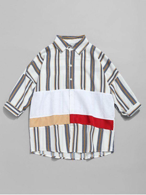 عارضة مخطط قطرة كتف القميص - أبيض 2XL