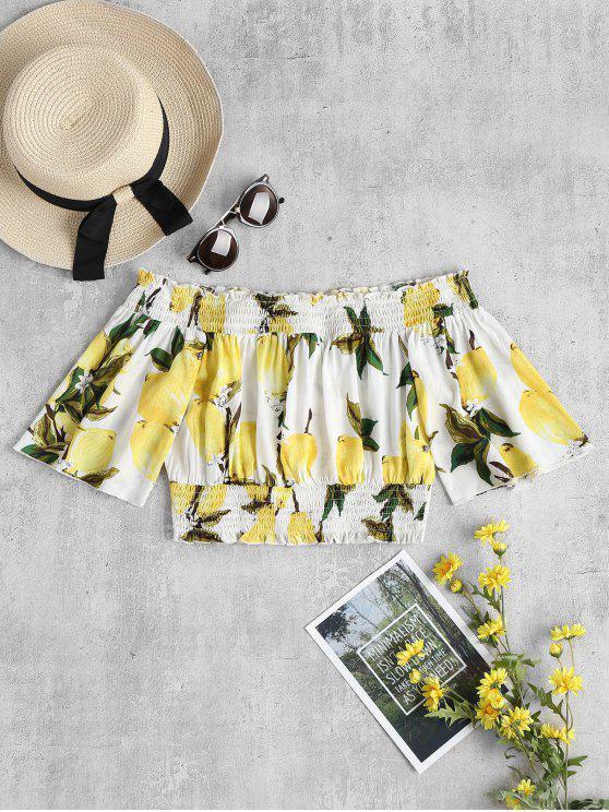 shop Lemon Print Off Shoulder Blouse - MULTI-A L