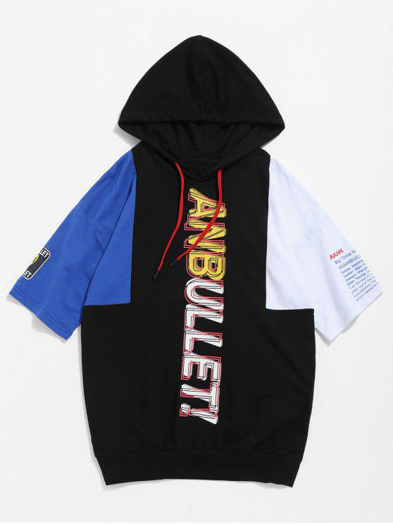 Camiseta estampada con capucha color block - Negro S