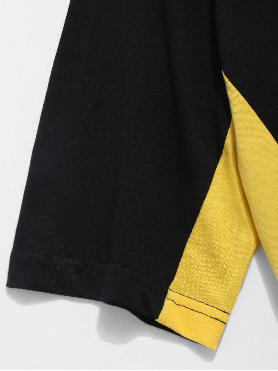 Raglan Sleeve Tee Xl Black Block Color dprvd