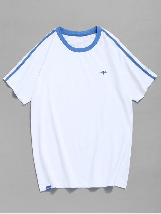 Raglanärmel Kontrast T-Shirt - Helles Blau XL