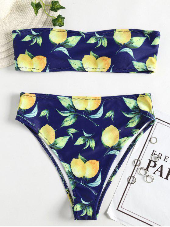 الليمون طباعة العصابة السامية مخصر بيكيني - الدينيم الأزرق الداكن M