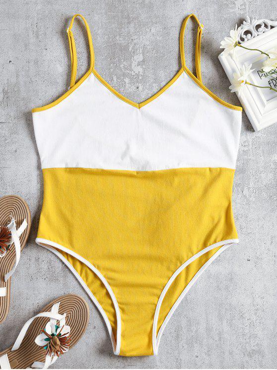 new Two Tone Cami Bodysuit - YELLOW S