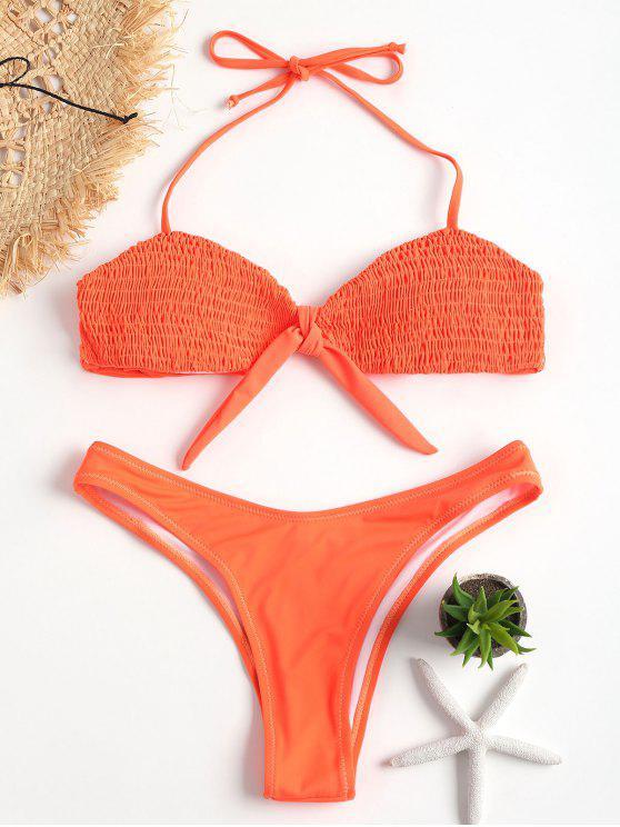 Bikini deshilachado de corte alto con nudo - Naranja Oscuro L